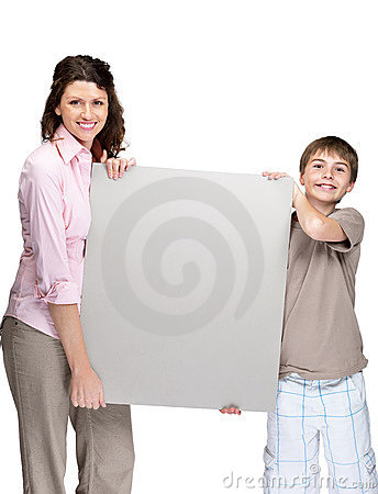Young woman and her son empty holding billboard
