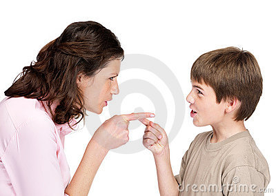 Young woman and her son pointing to each other