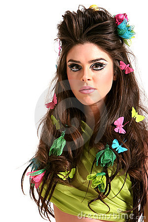 YOUNG WOMAN WITH HIGH FASHION MAKEUP AND HAIRSTYLE (click image to zoom)