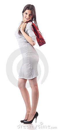 Young woman hold shopping red bag. Discount