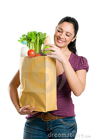 Free Young Woman Holding A Grocery Bag Stock Photography - 11863032
