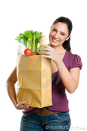 Free Young Woman Holding A Grocery Bag Stock Photography - 11863062