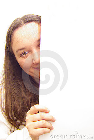 Young woman holding a blank banner ad