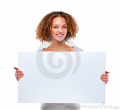 Young woman holding a blank board isolated