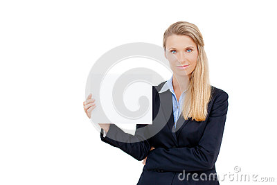 Young woman holding at blank card in her hand
