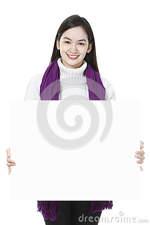Young Woman Holding Blank Message
