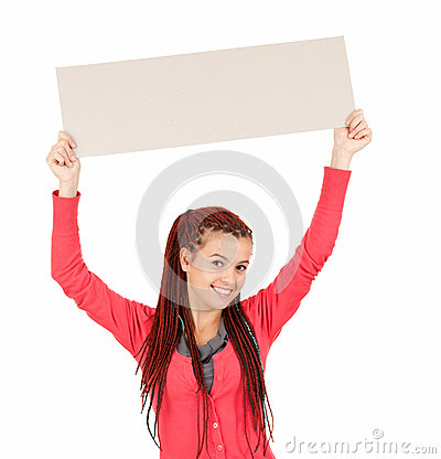 Young woman holding blank sign