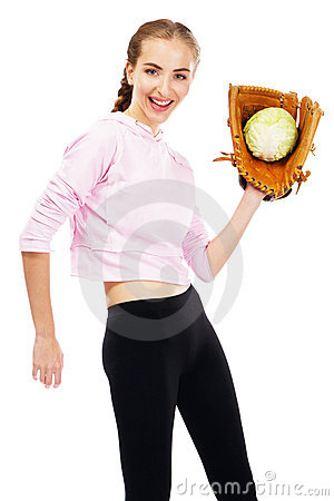 Young woman holding a cabbage
