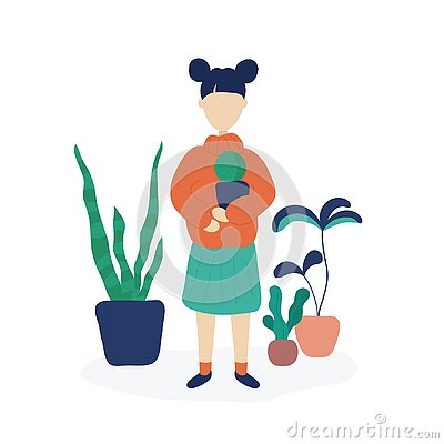 Girl holding cactus surrounded by home plants Vector Illustration