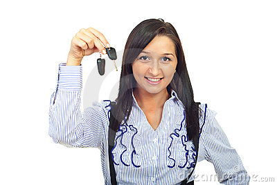 Young woman holding car keys