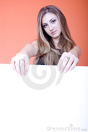 Young woman holding card
