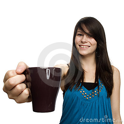 Young woman holding coffee cup