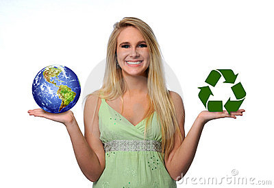 Young Woman Holding Earth and Recycle Logo