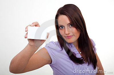 A young woman, holding an empty paper