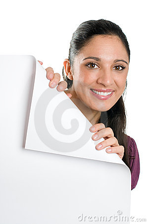 Free Young Woman Holding Folded Corner Signboard Royalty Free Stock Photo - 11862955