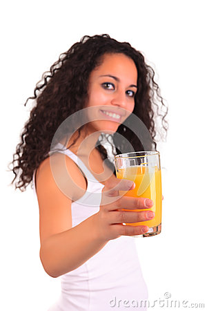Young woman holding glass of orange juice isolated over white ba