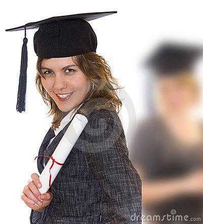 Free Young Woman Holding Graduate Diploma Stock Photography - 14191312