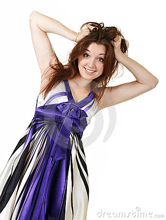Young woman holding her hair in surprise