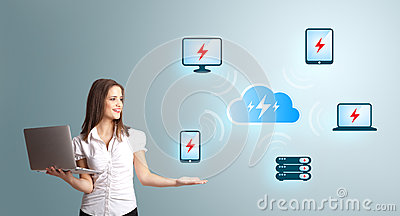 Young woman holding a laptop and presenting cloud computing netw