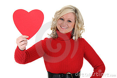 Young Woman Holding a Paper Heart 02
