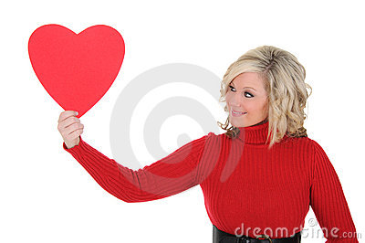 Young Woman Holding a Paper Heart 05