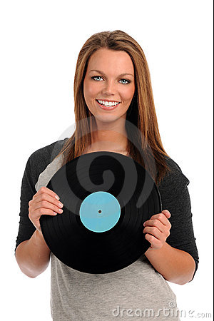 Young Woman Holding Record