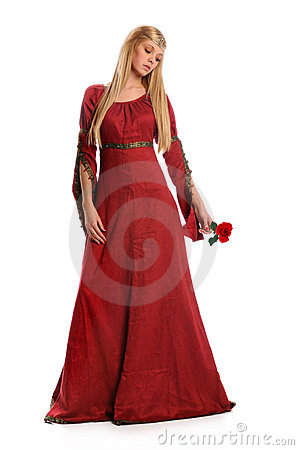 Free Young Woman Holding Red Rose Stock Images - 12835134