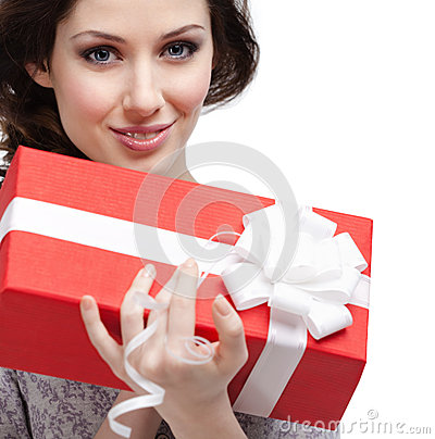 Young woman holds a gift