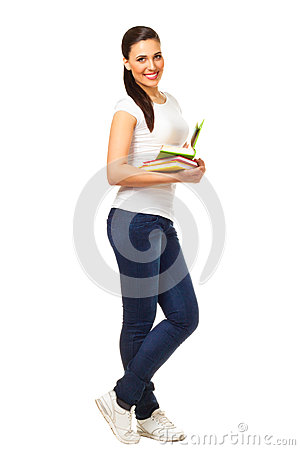 Young woman holds open books