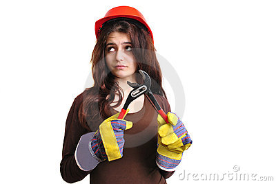 Young woman holds a water pipe wrench