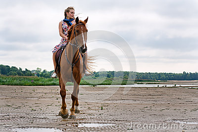Young woman on a horse