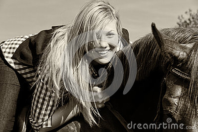 Young woman with horse - Black and white