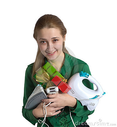 Young woman with household appliances and present
