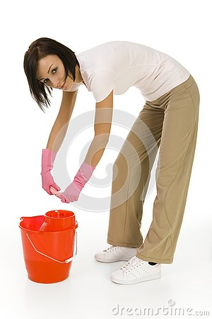 Young woman houseworking