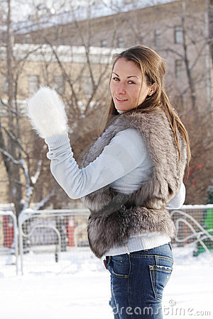Young woman at ice rink