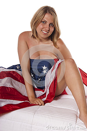 Young woman implied nude American Flag