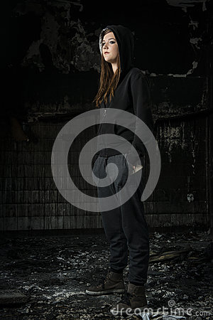 Free Young Woman In A Burned House Royalty Free Stock Image - 46208256