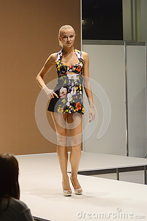 Free Young Woman In A Motley Nightgown. 5th International Exhibition Of Underwear, Beachwear, Home Wear And Hosiery Black Lingrie Flash Royalty Free Stock Photography - 44730367