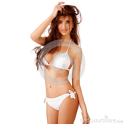 Free Young Woman In A White Bikini Royalty Free Stock Images - 31171439