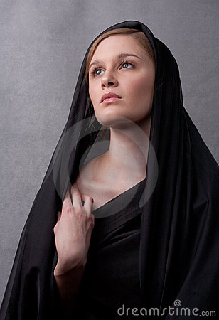 Free Young Woman In Black With Head Covered Stock Photos - 14688373