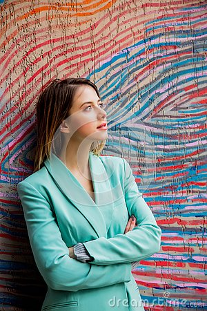 Free Young Woman In Blazer Of 90s Style Stock Image - 142353651