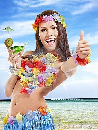 Free Young Woman In Costume Of Hawaii. Stock Photo - 19836430