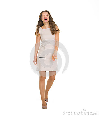 Free Young Woman In Dress Making Step Forward Royalty Free Stock Photo - 28204245