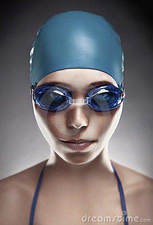 Free Young Woman In Goggles And Swimming Cap Royalty Free Stock Image - 23541386