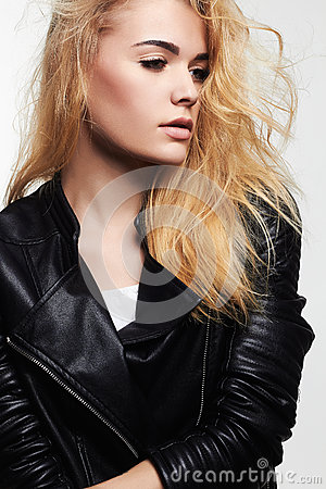 Free Young Woman In Leather Coat Royalty Free Stock Image - 84763346