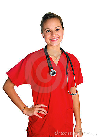 Free Young Woman In Red Scrubs Stock Photos - 3898713