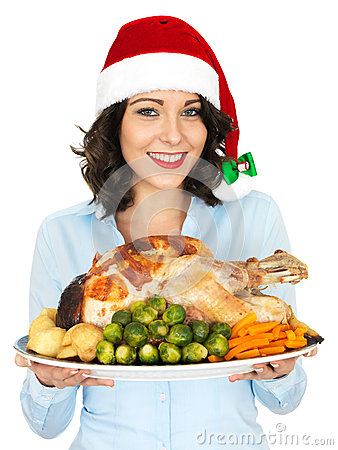 Free Young Woman In Santa Hat Holding Roast Turkey And Vegetables Stock Photography - 51296172