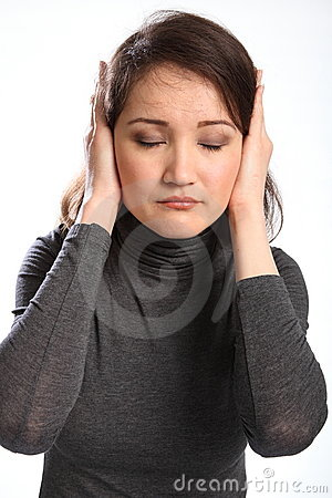 Young woman indicates bad news not listening
