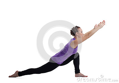 Young woman instructor posing in split isolated