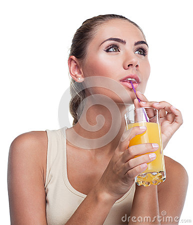 Young woman with juice